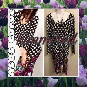 Asos Curve Black/White Polka Dot/Floral Dress~US22